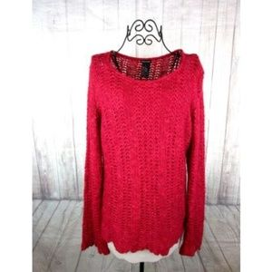 Maurices Womens Red Loose Knit Sweater Size Large
